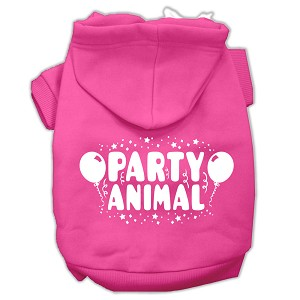 Party Animal Screen Print Pet Hoodies Bright Pink Size Med (12)